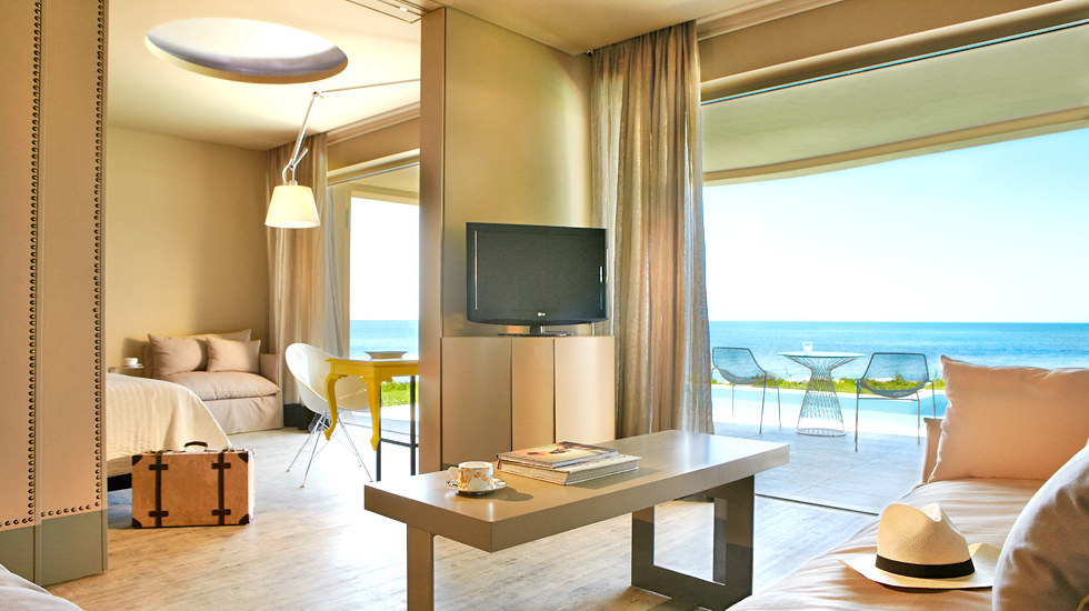 Astir Executive Suite with Private Pool | Fabulous living area with a lounge of 2 sofa beds ideal for kidssleeping area
