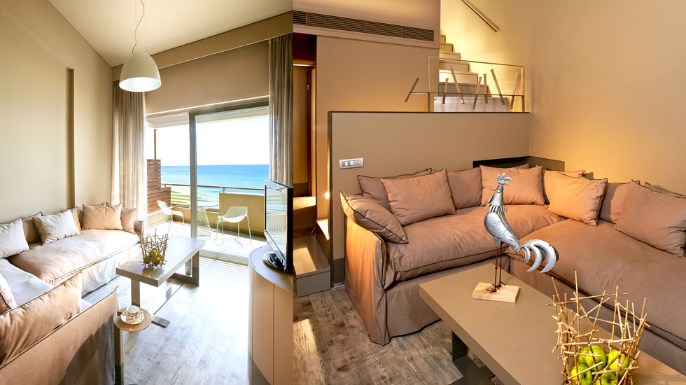 Astir Maisonettes Cleverly Designed With Split Level Layout As A Wooden  Staircase Leads Up To The Cosy Master Bedroom